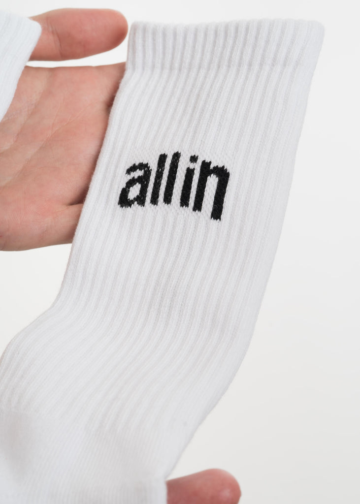 all in, White Arc Logo Socks, 017 Shop
