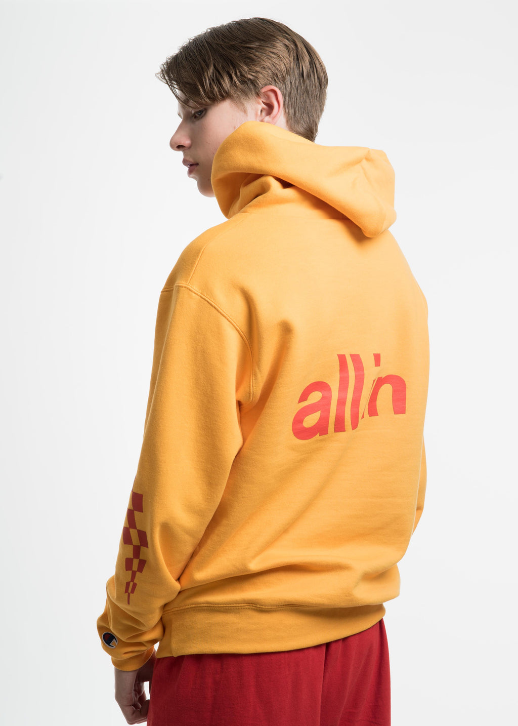 all in, Yellow Champion Edition Wavy Logo Hoodie, 017 Shop