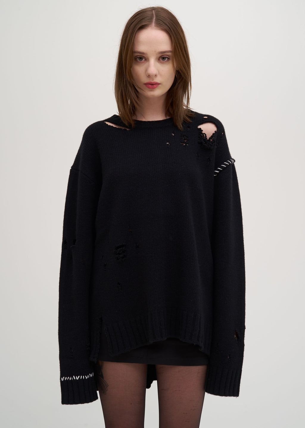 Black Damaged Knit