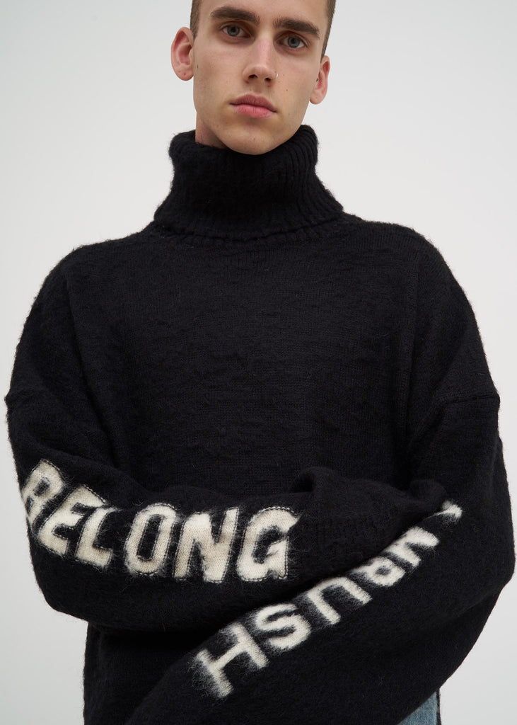Black Knit Turtle Neck