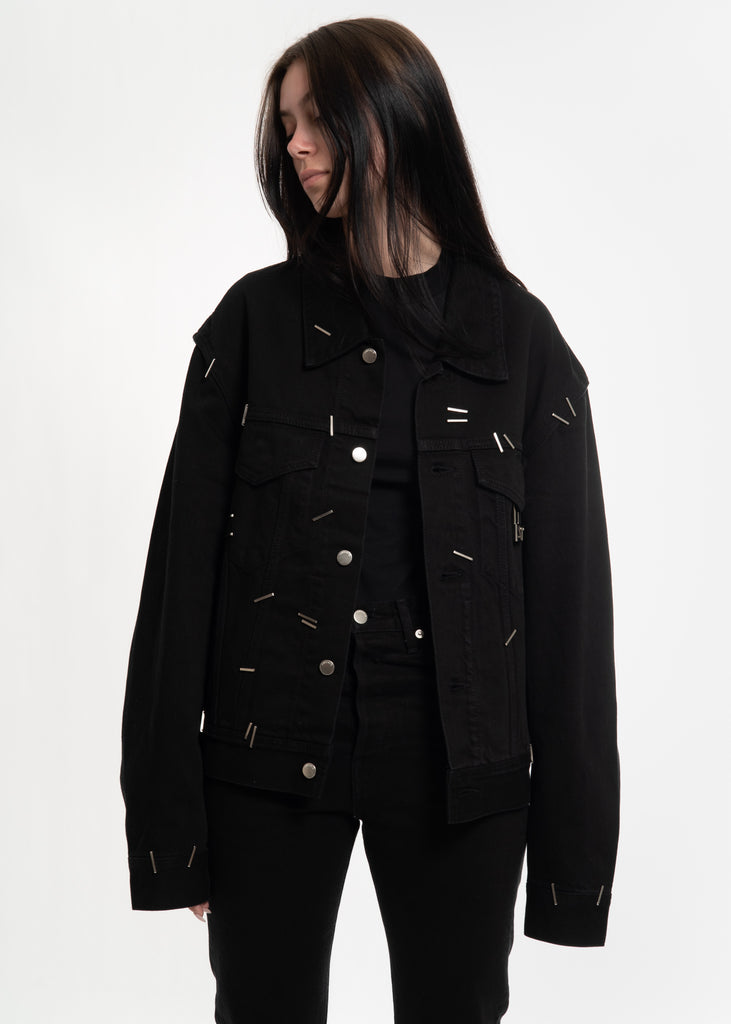 Black Stapled Denim Jacket