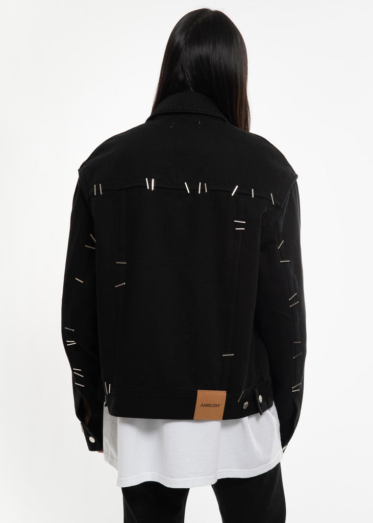 Ambush, Black Stapled Denim Jacket, 017 Shop