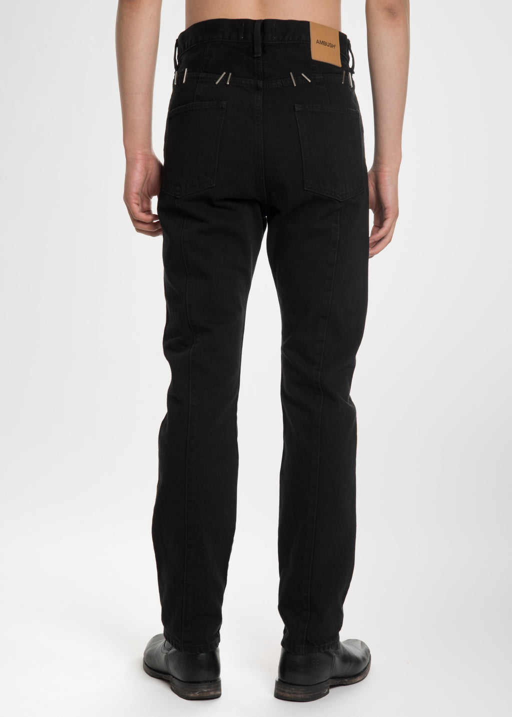 Ambush, Black Stapled Denim Trousers, 017 Shop