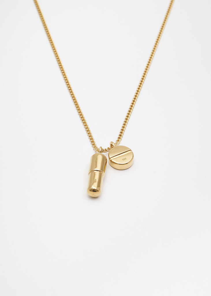 Gold Pill Charm Necklace