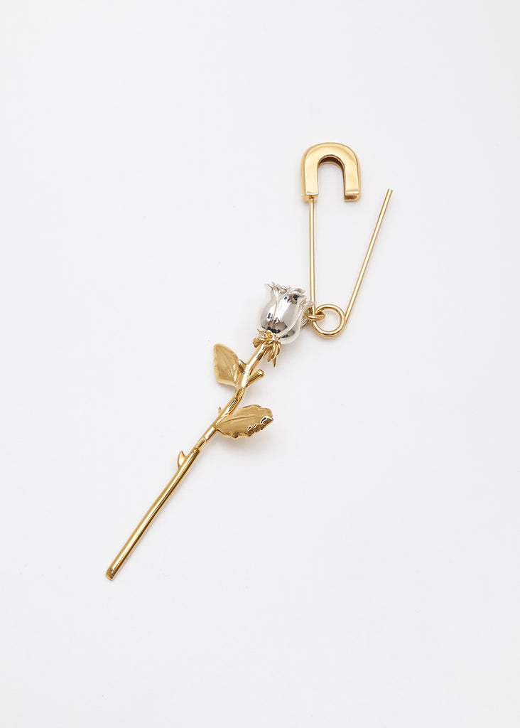Gold Rose Charm Earring
