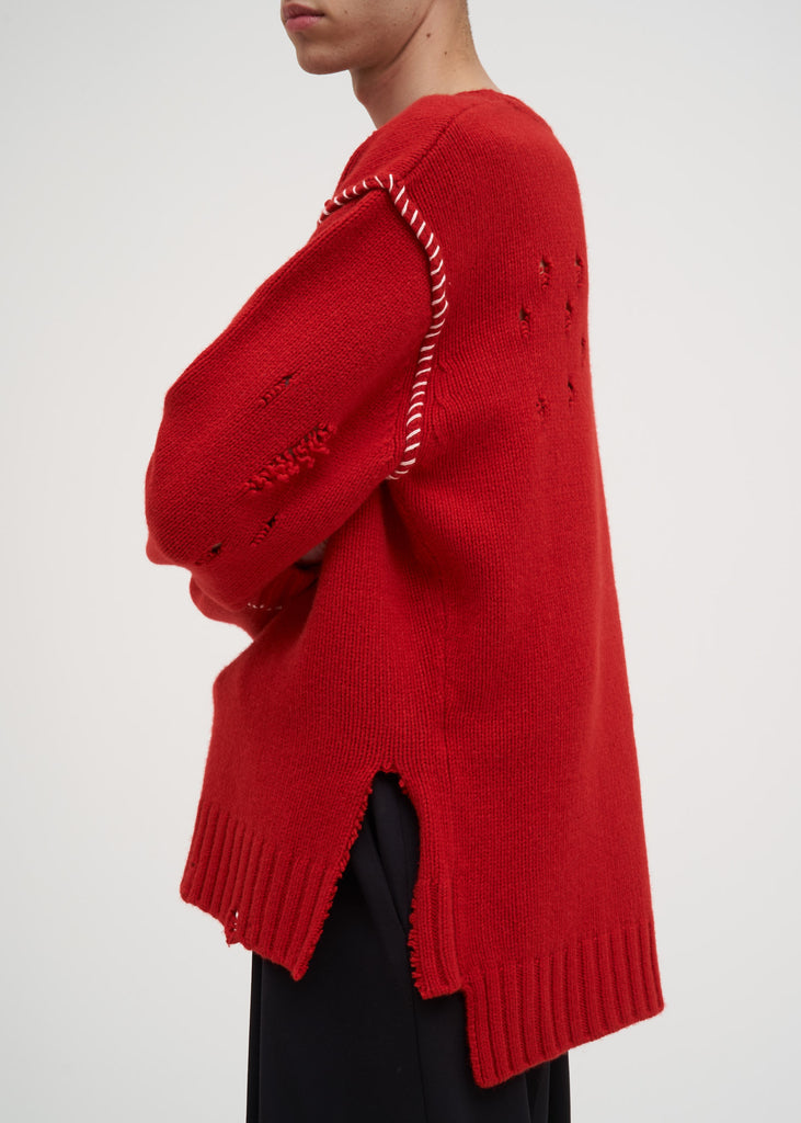 Red Damaged Knit
