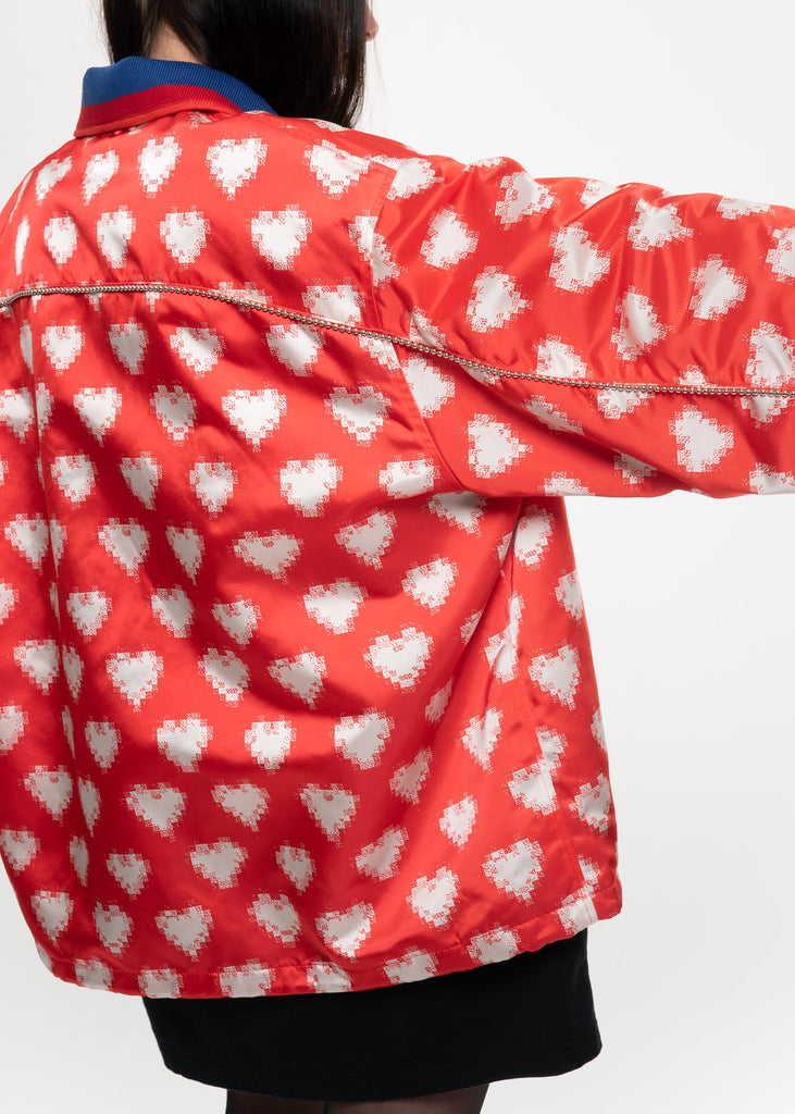 Red and White Oversized Heart Coach Jacket