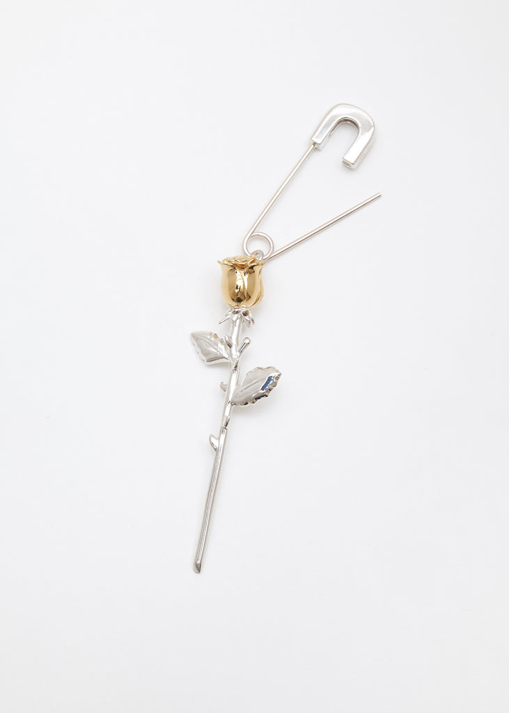 Silver Rose Charm Earring