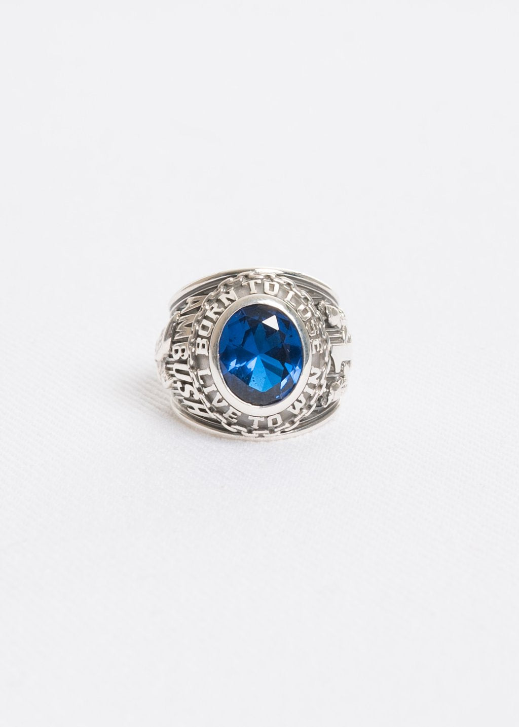 Silver and Blue Class Ring