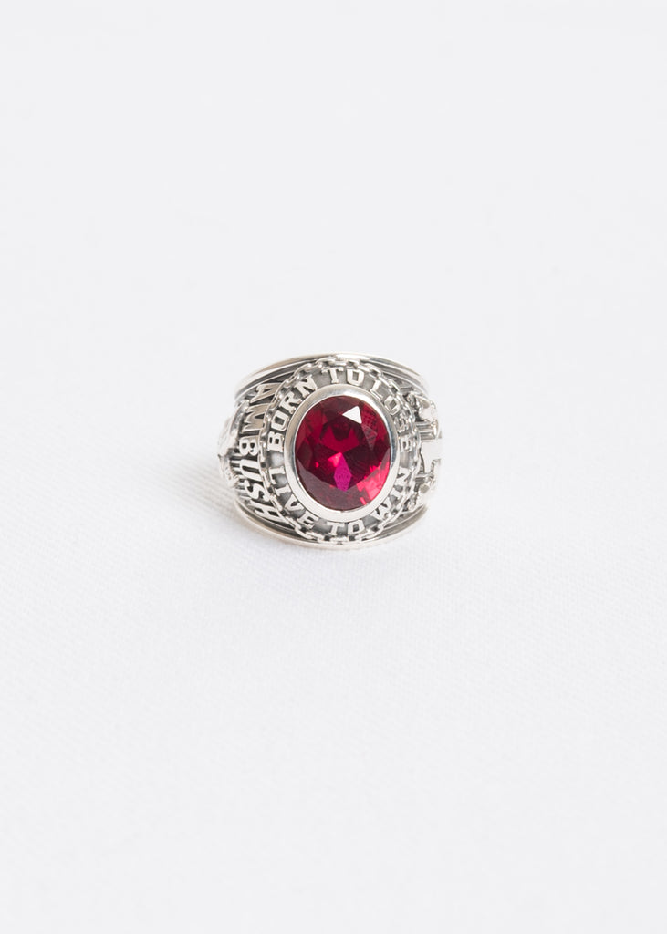 Silver and Red Class Ring
