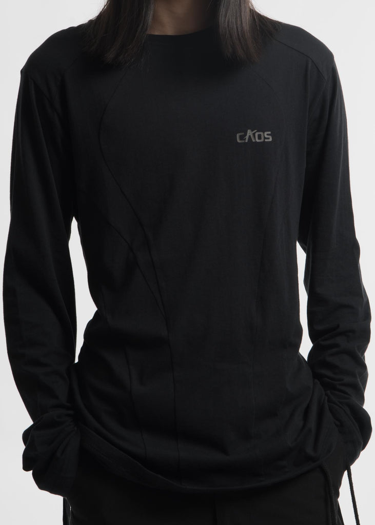 "Hyein Seo, Black ""Caos"" Strap Long Sleeve T-Shirt, 017 Shop"