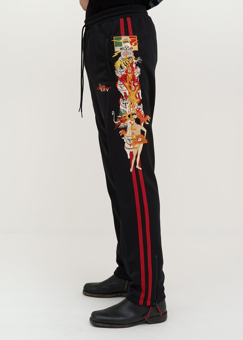 Doublet, Black Chaos Embroidery Track Pants, 017 Shop