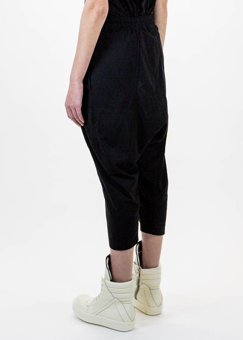Black Cropped Drawstring Trousers