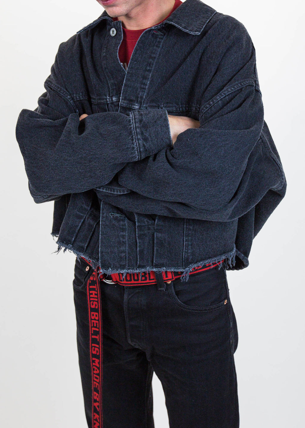 Black Cut Off Oversized Silk Denim Jacket