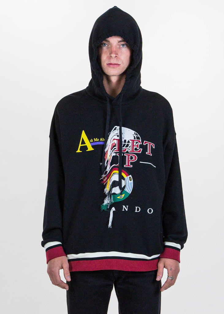 Black Double-Faced Embroidery Hoodie