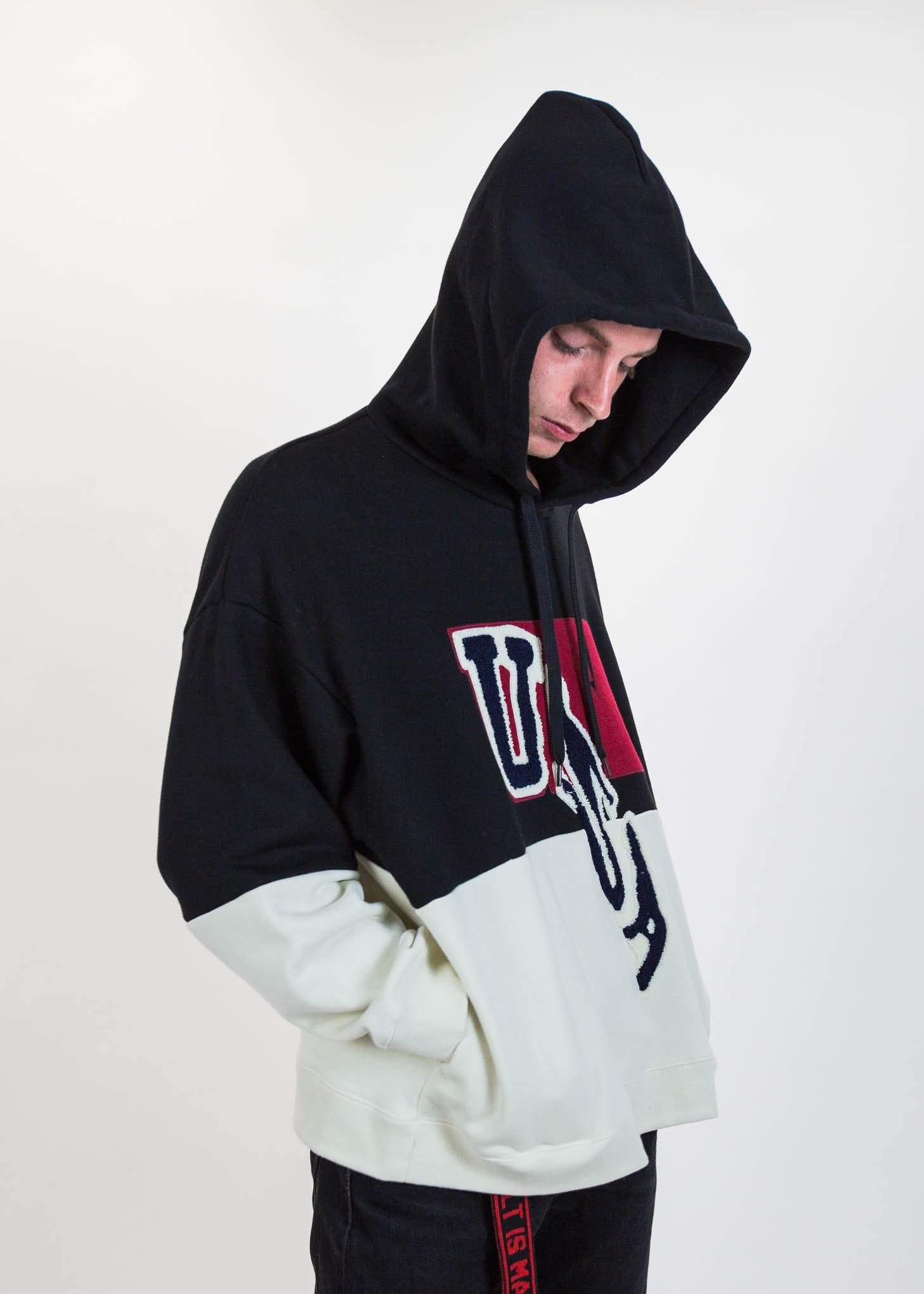 Black Drop Patch Embroidery Hoodie