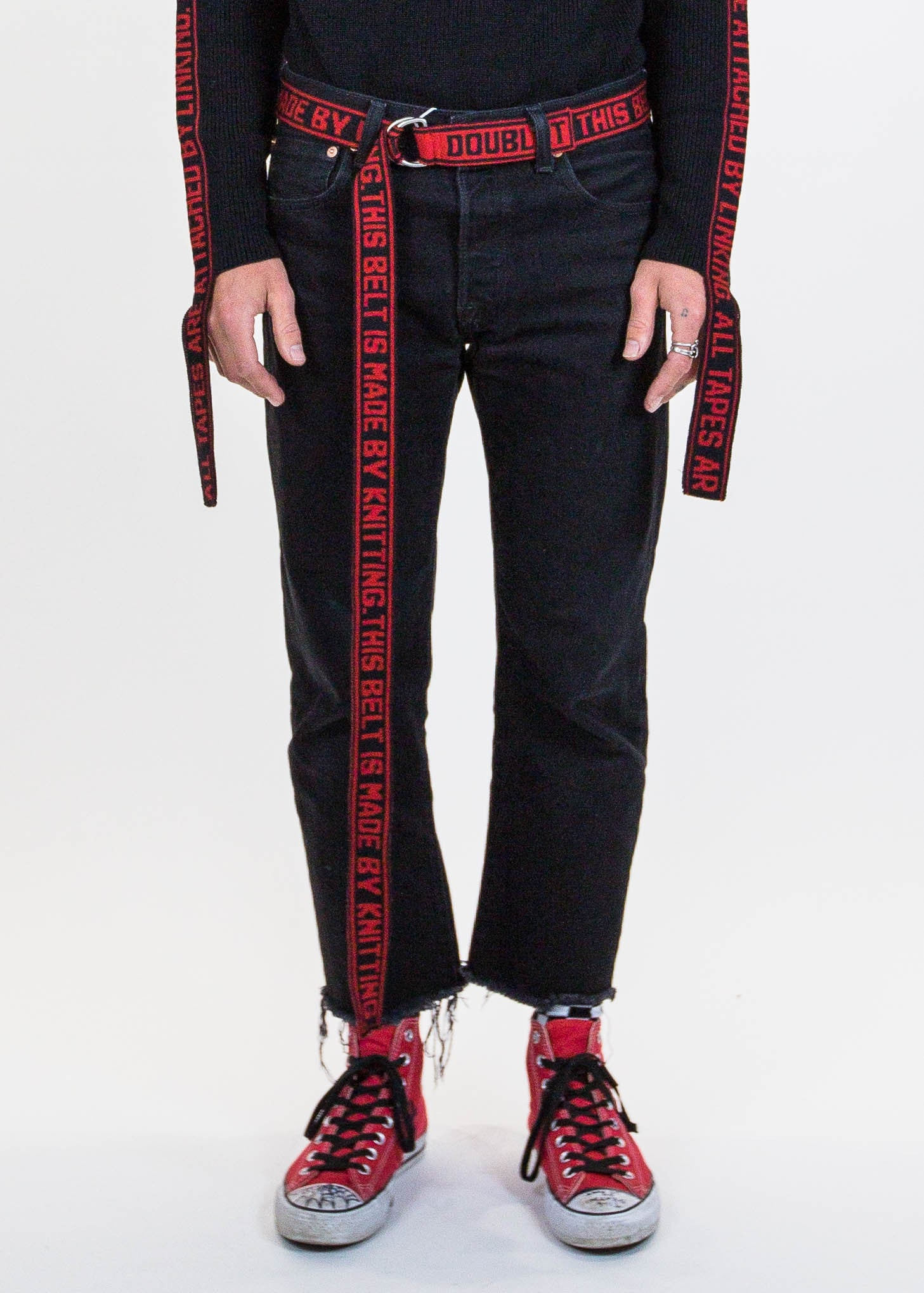 Red Jacquard Knit Belt