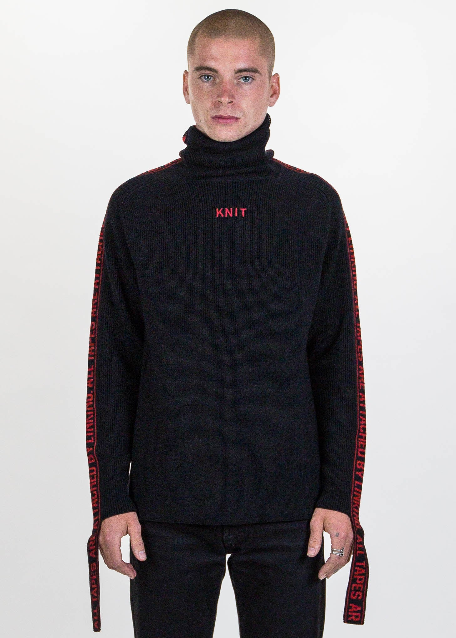 Black Jacquard Tape Attached Knit Sweater