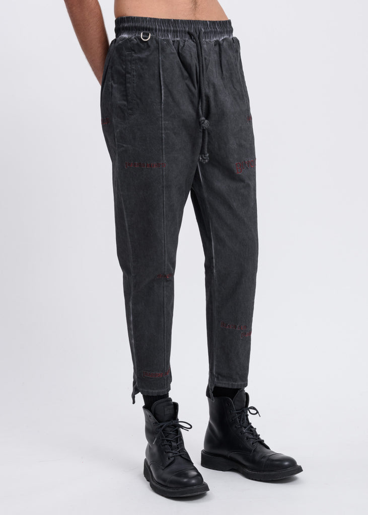 Black Multi Logo Cropped Pants