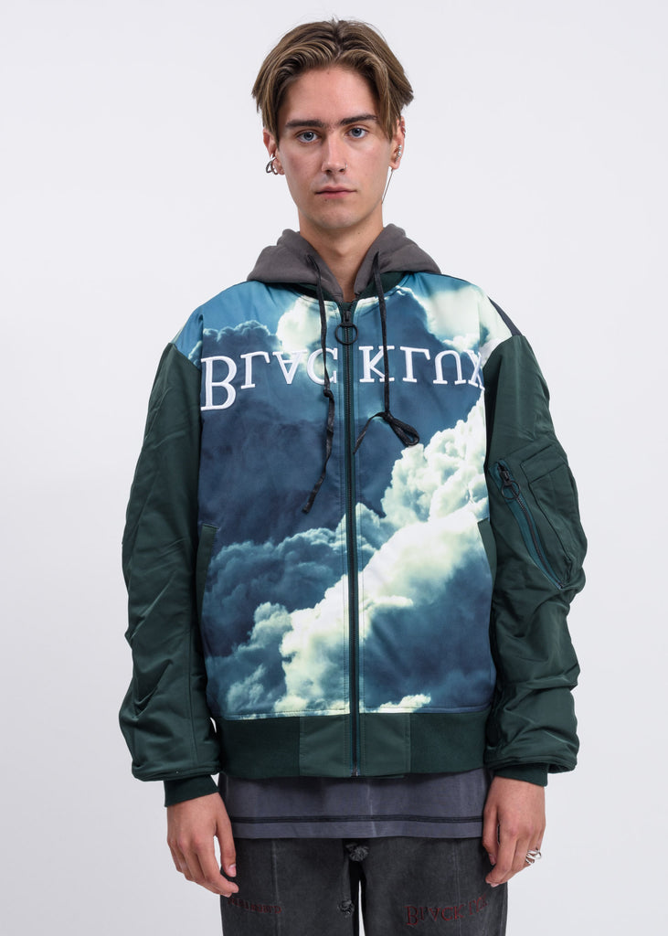 Green Clouds Bomber Jacket w/ Hood