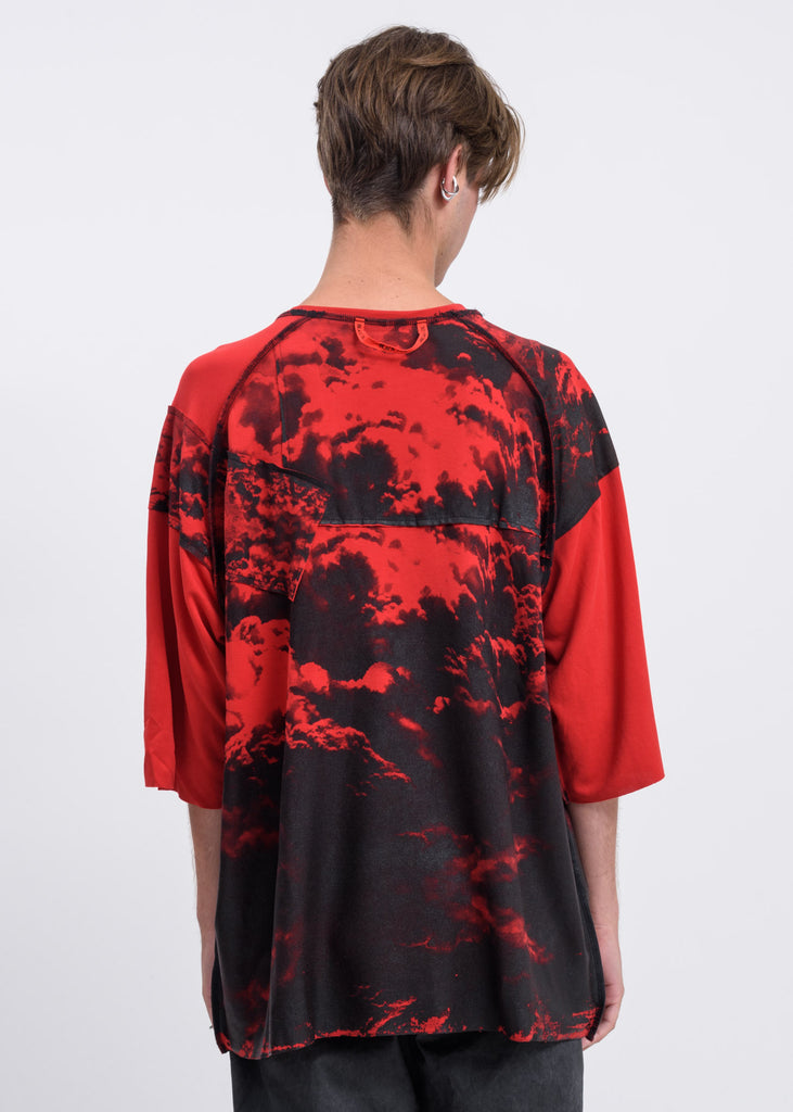 Red Black Clouds Oversized T-Shirt