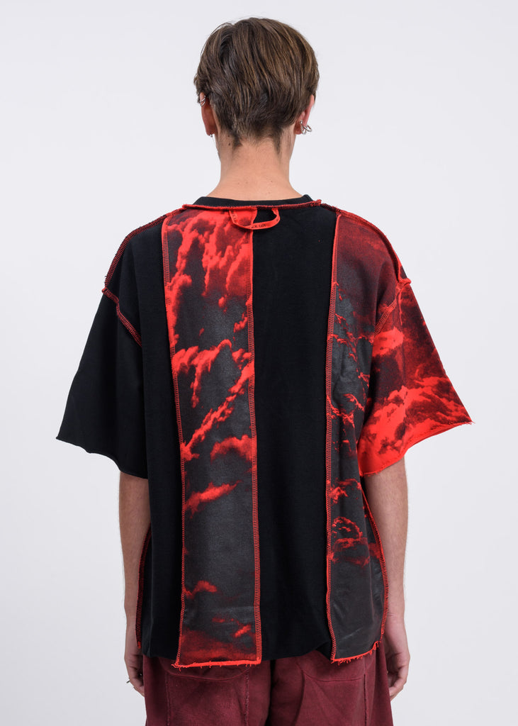 Black Red Clouds Panel T-Shirt