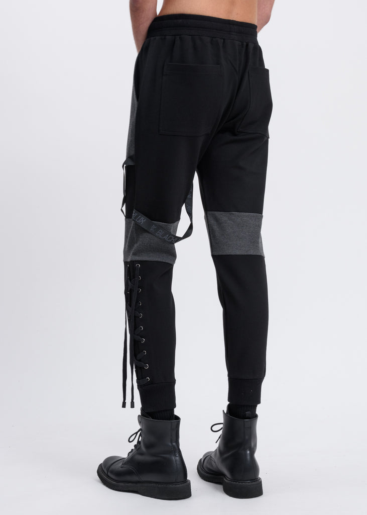 Black and Grey Contrast Sweatpants