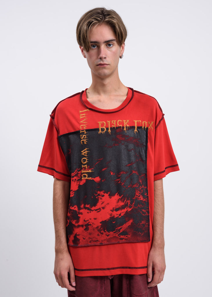 Red Contrast Stitch Clouds T-Shirt