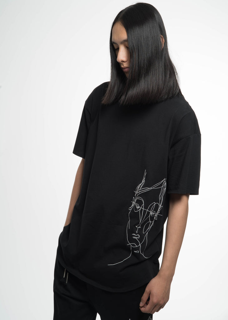 "Siki Im, Black Baggy ""Big Face"" T-Shirt, 017 Shop"