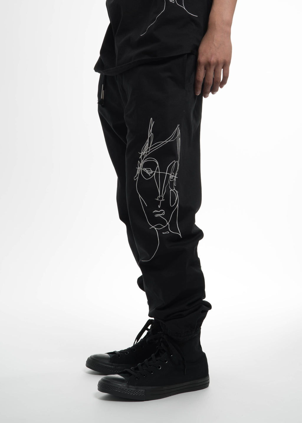 Siki Im, Black Drawstring Pants w/ Face, 017 Shop