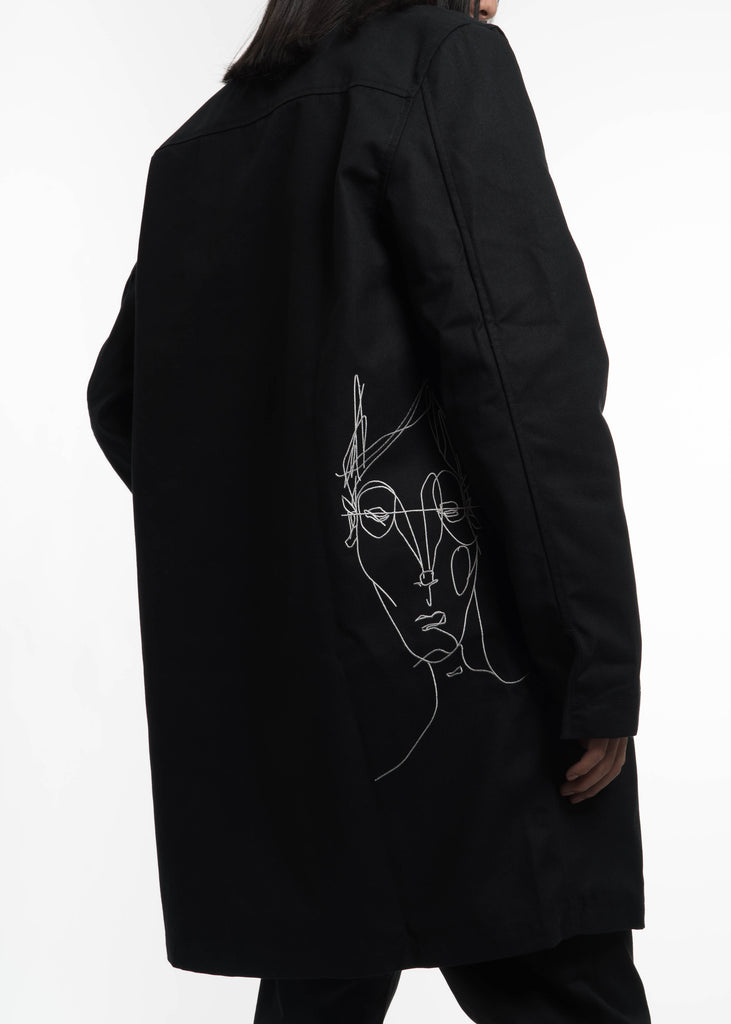 Black Embroidered Car Coat