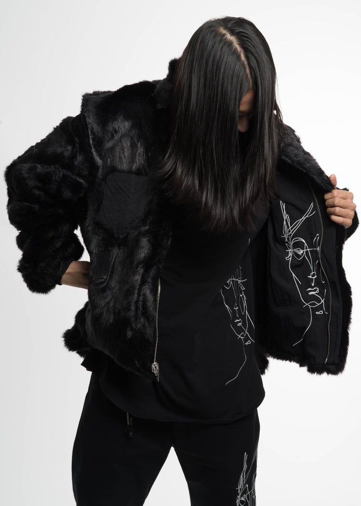 Black Coach Jacket w/ Fur Lining