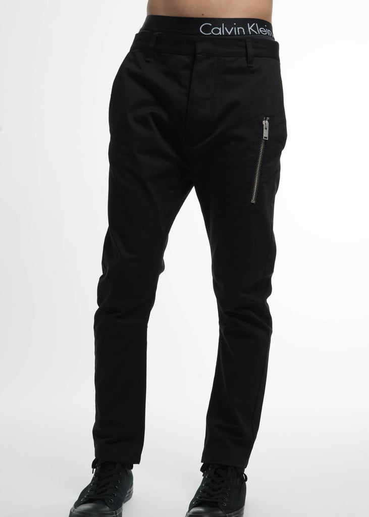 Black Peg Chino w/ Zip Pocket