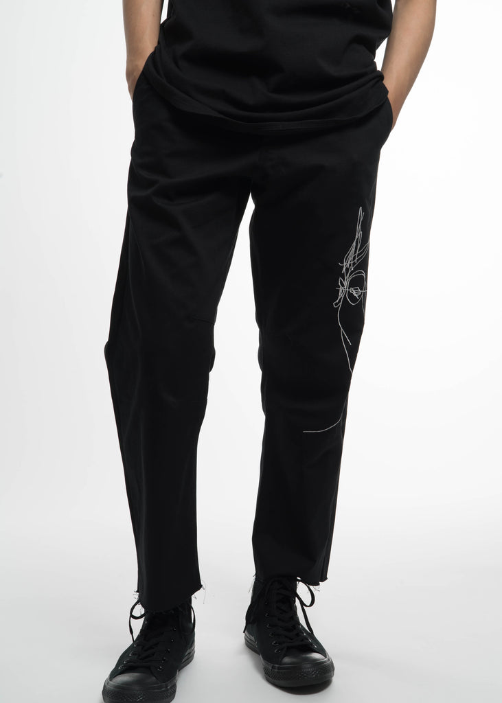 Black Relaxed Chino w/ Face