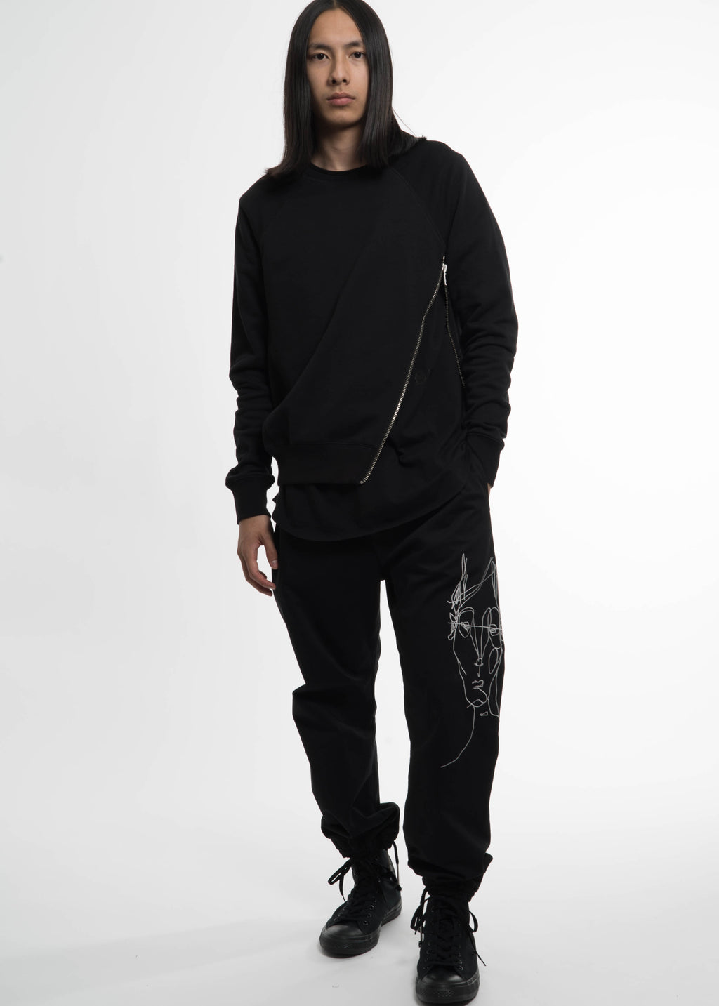Siki Im, Black Side Zip Crew Sweatshirt, 017 Shop
