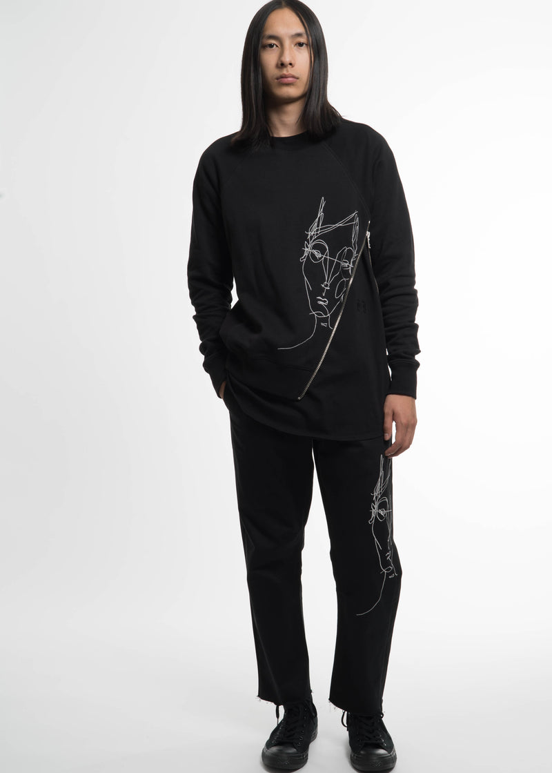 Black Side Zip Crew Sweatshirt w/ Face