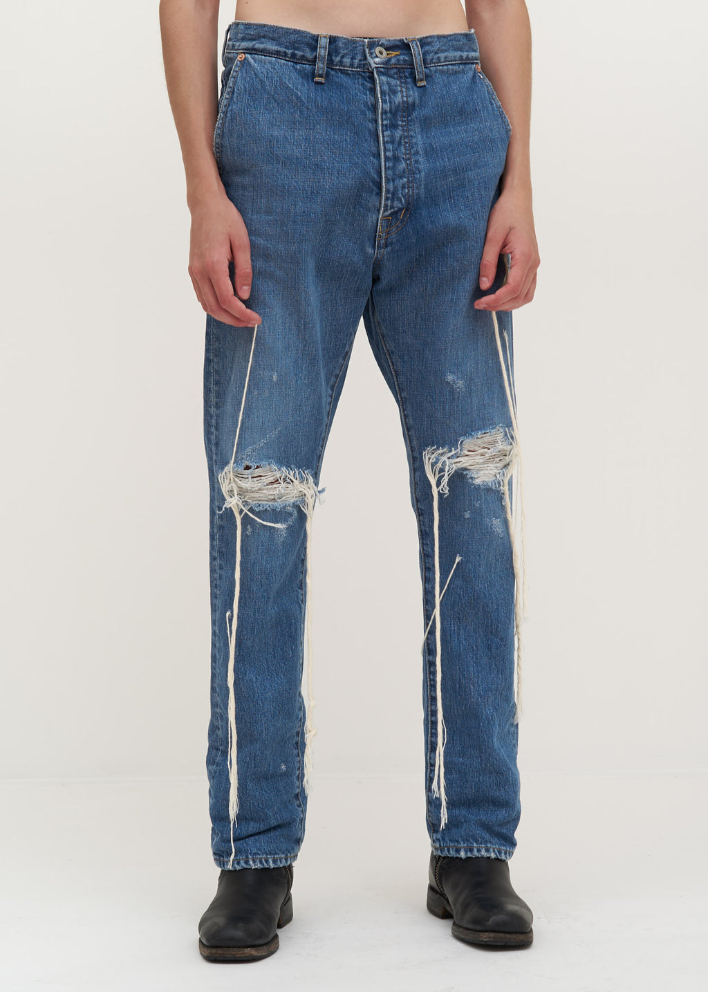 Doublet, Blue Too Much Damage Denim Pants, 017 Shop