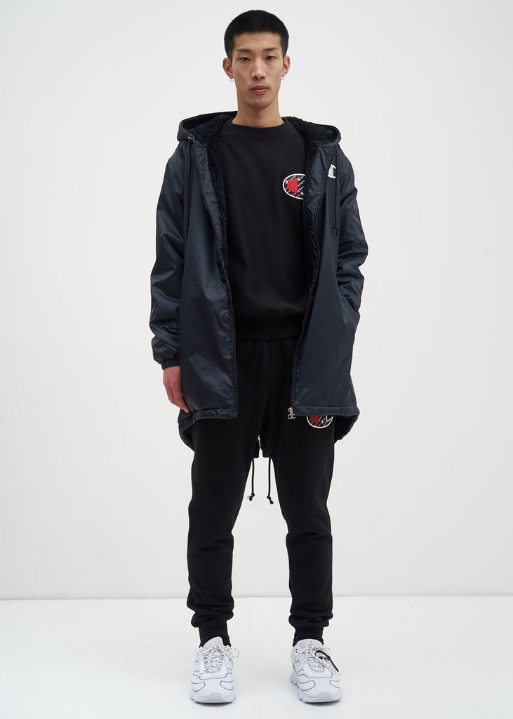 Black Sherpa Lined Zip Parka