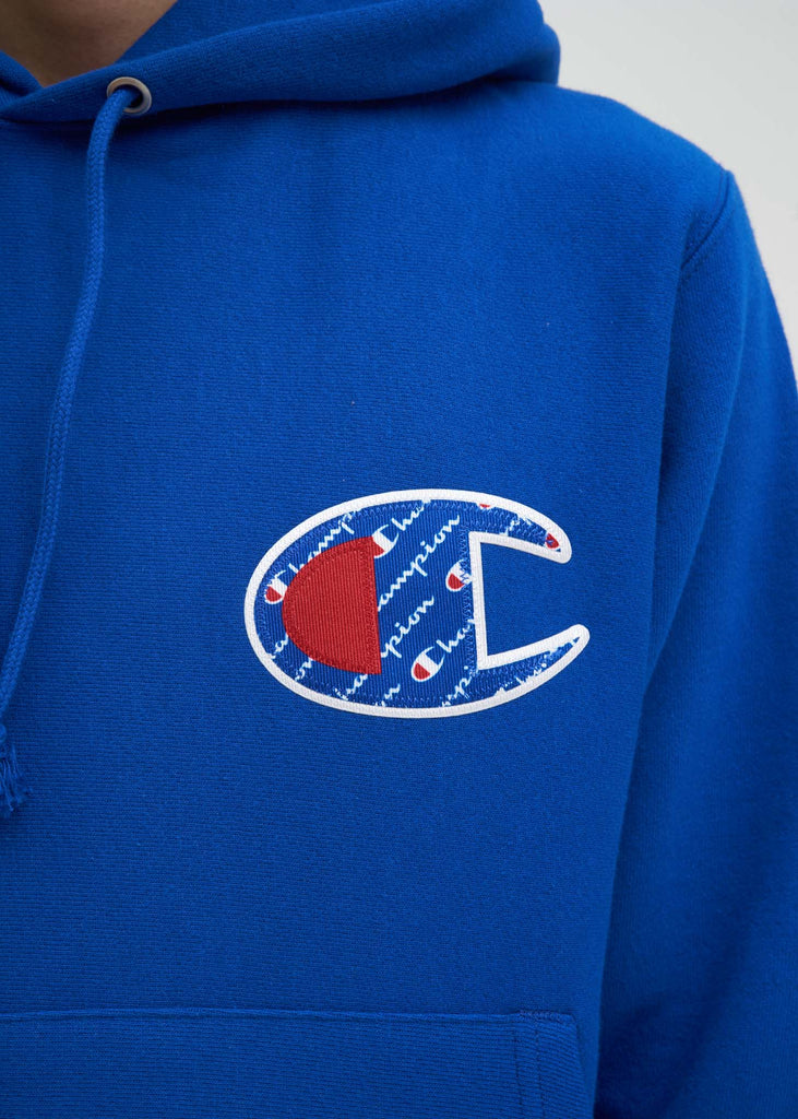 "Champion Reverse Weave, Blue Sublimated ""C"" Hoodie, 017 Shop"