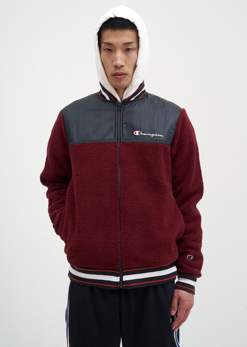 Mulled Berry Sherpa Baseball Jacket