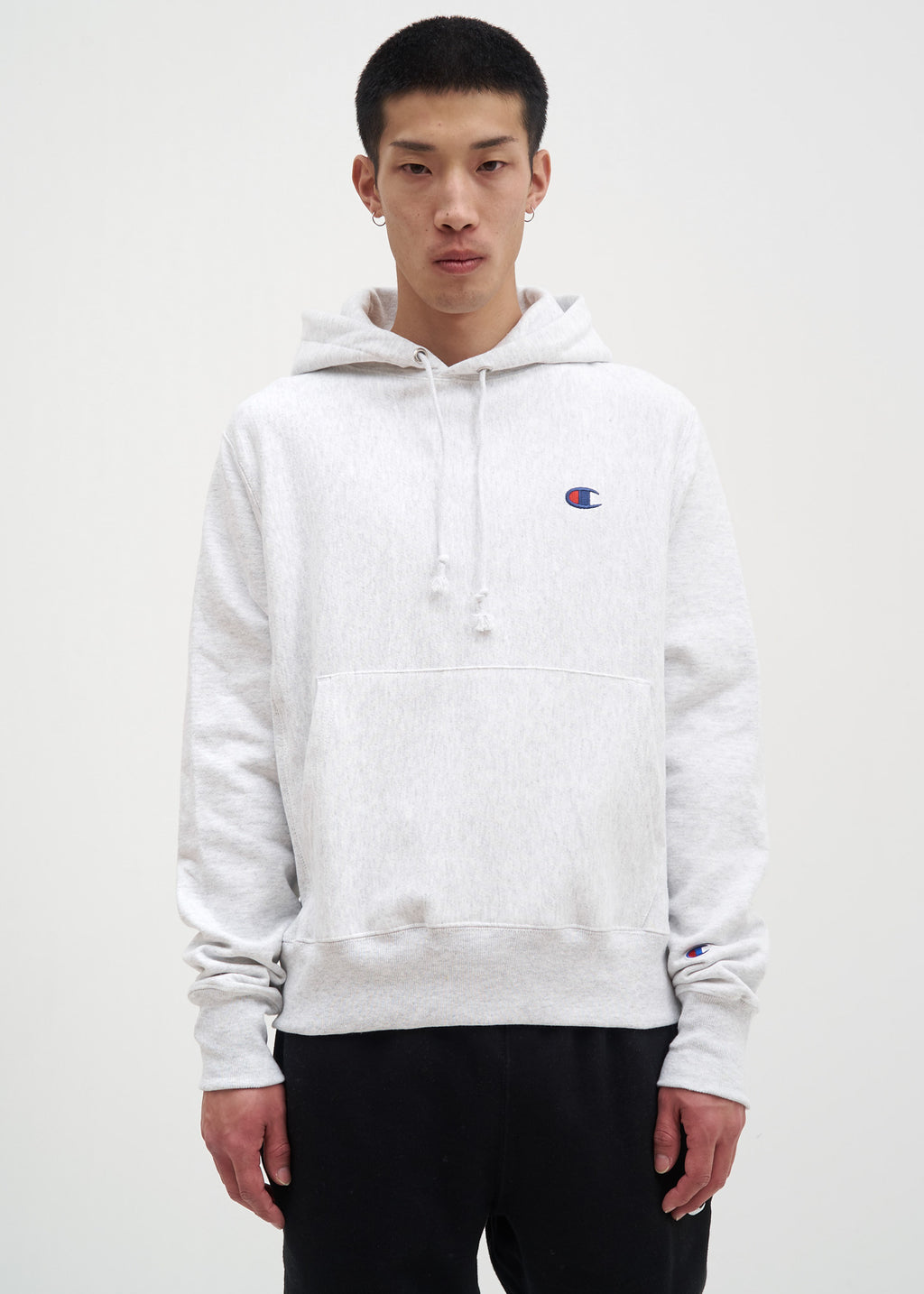 "Champion Reverse Weave, Silver Grey Left Chest ""C"" Logo Hoodie, 017 Shop"
