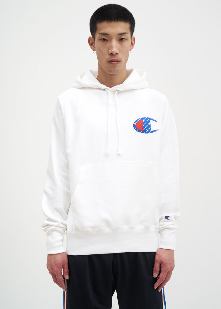 "Champion Reverse Weave, White Sublimated ""C"" Hoodie, 017 Shop"