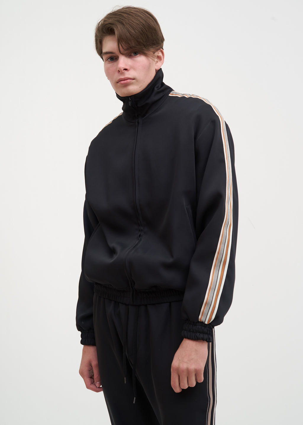 Black Bret Striped Track Jacket
