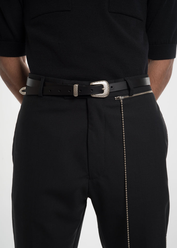 Black Glock Western Leather Belt