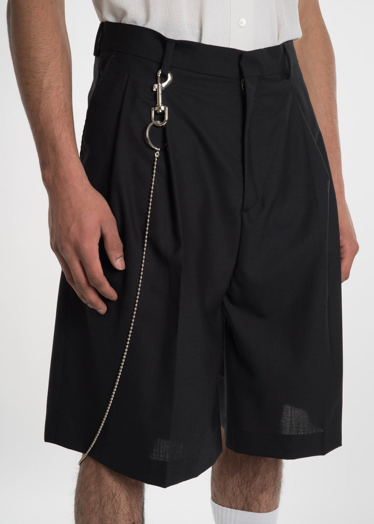 Black Jayson Pleated Shorts