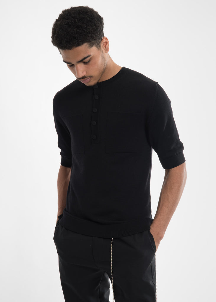 Black Ripley Knitted T-Shirt
