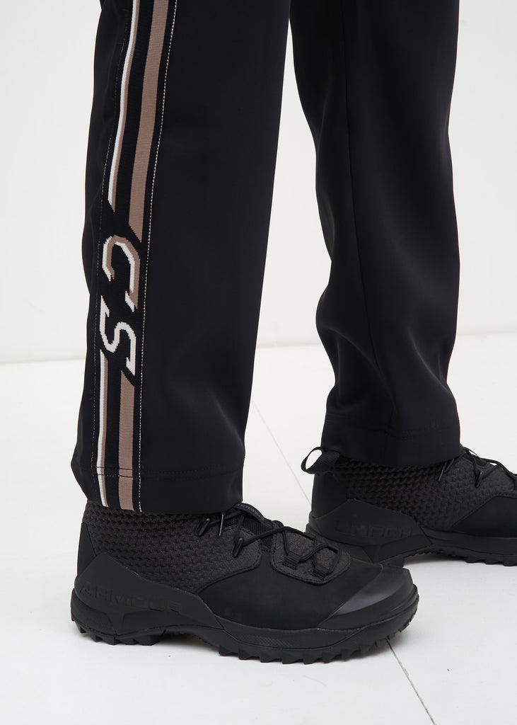 Black and Grey Buck Satin Trackpants