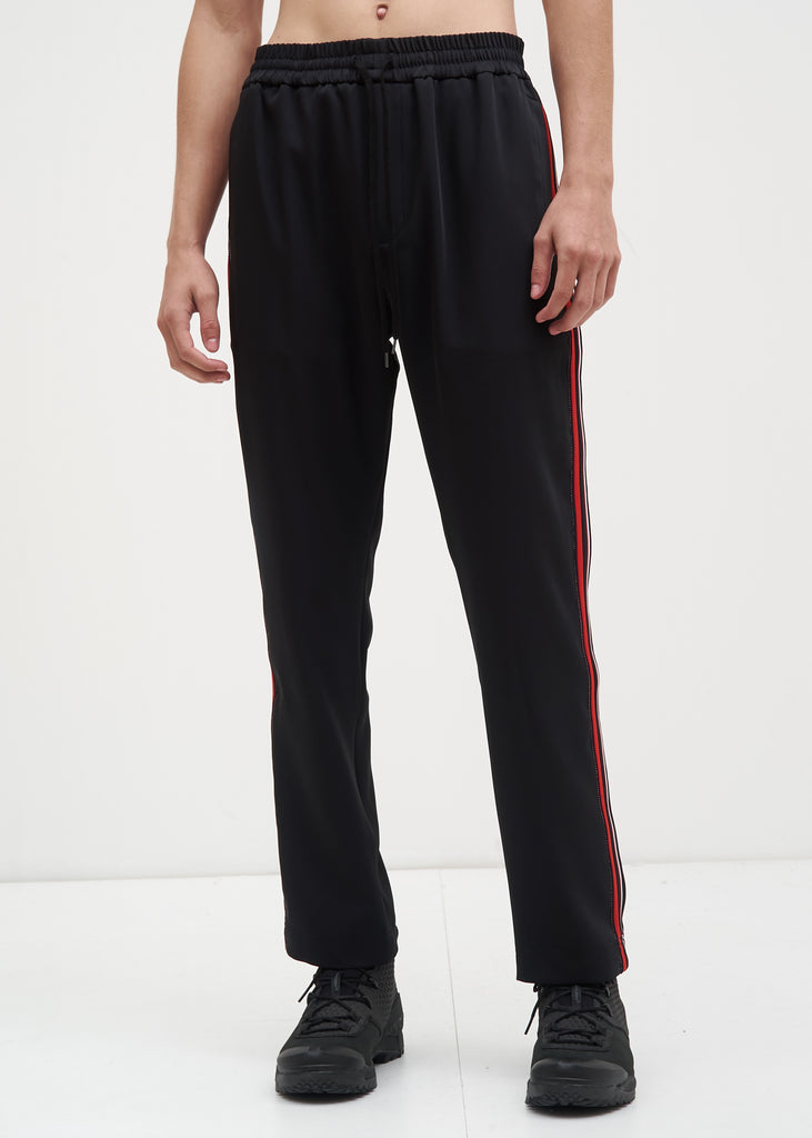 Black and Red Buck Satin Trackpants