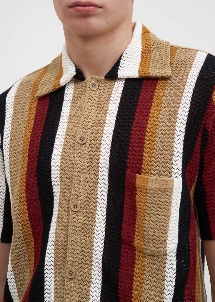 Burgundy Stripe Wes Knitted Shirt