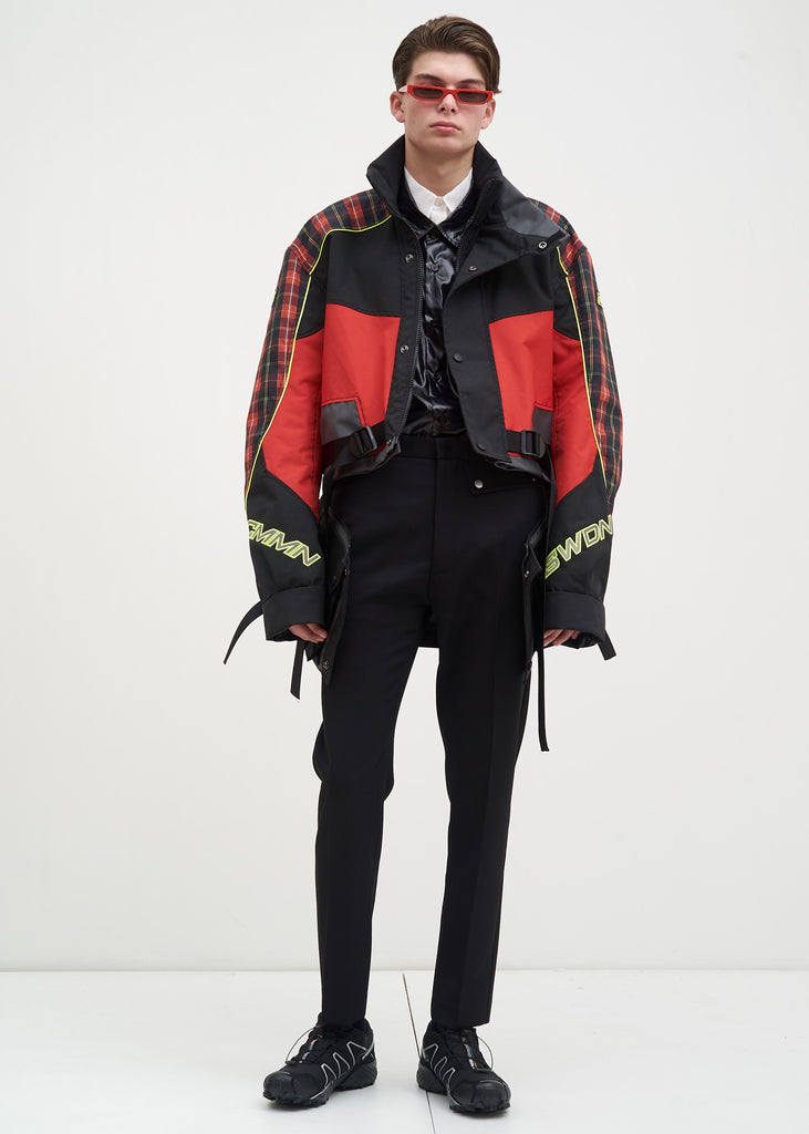 Cmmn Swdn, Red Check Roman Technical Jacket, 017 Shop